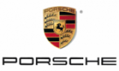 Porsche logo with red, black and gold shield centered above the company name, Porsche.